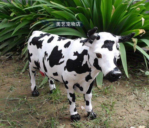 simulation dairy cow 52x12x30cm model,polyethylene&fur milk cow handicraft toy home decoration Xmas gift b3833