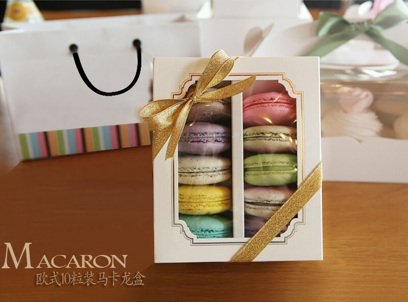 White Macaron box with transparent window dessert macarons pastry packaging boxes in 15 5 12 5