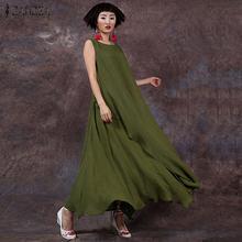 Женское длинное платье без рукавов zanzea повседневное свободное
