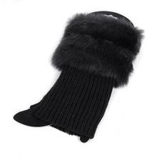 font b Womens b font Winter Warm Crochet Knit Fur Trim Leg Warmers Cuffs Toppers