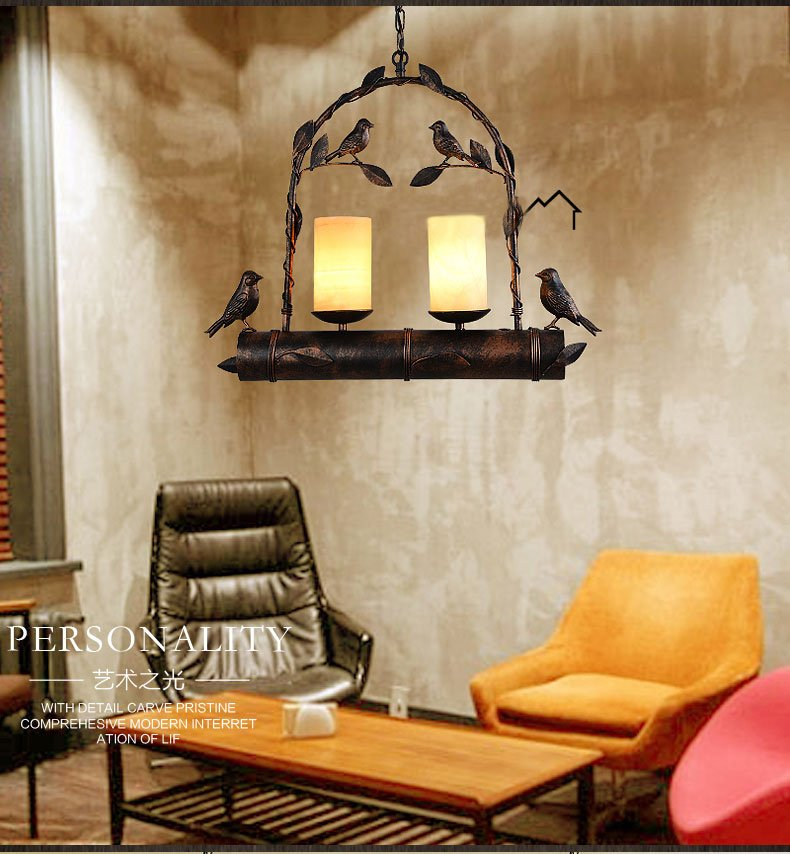 Loft Vintage industrial wind Pendant Lights American country creative restaurant cafe bar iron bird marble Pendant Lamps restaurant bar cafe pendant lights retro hone lighting lamp industrial wind black cage loft iron lanterns pendant lamps za10