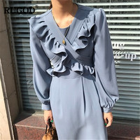 RUGOD Elegant Ruffle Dress Women Fashion Solid Belted Long Sleeve Midi Dress Female Spring Summer Dresses Vestidos Verano 2019