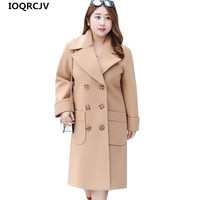 2018 New Spring Autumn Woolen Coat Women Jacket Loose Double Breasted Winter Coats Blend Woolen Long Outerwear Women IOQRCJV 843