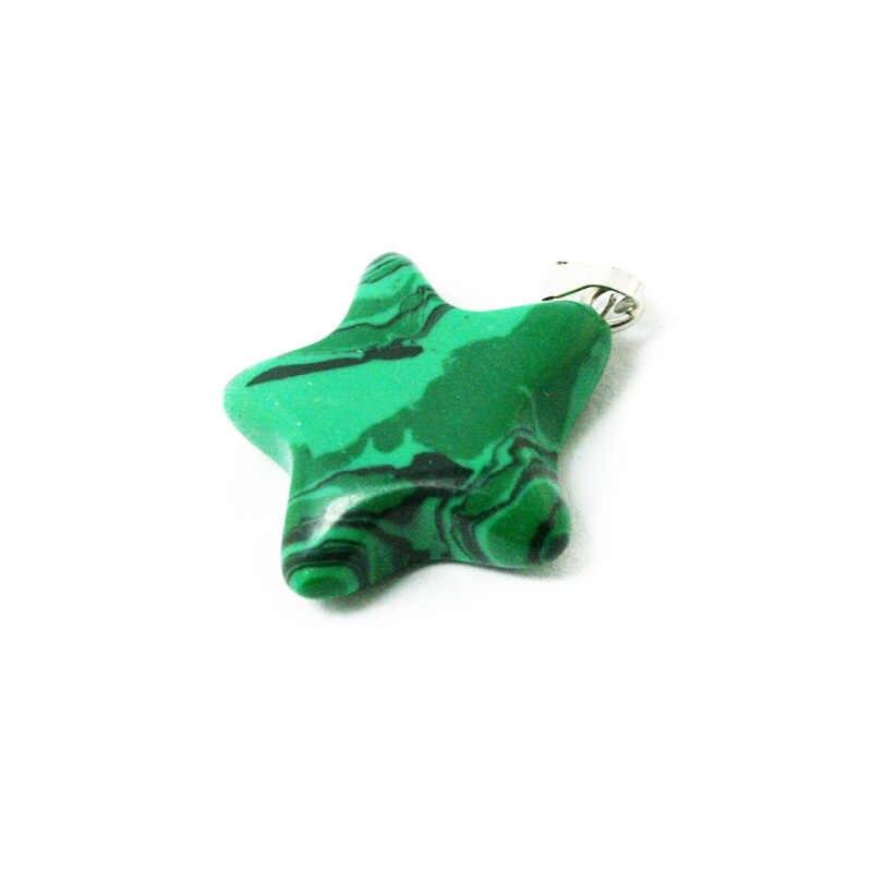新スタイルの 20 ミリメートルスター形状の天然宝石合成マラカイト石のチャームペンダント Diy のジュエリー BTB694-07