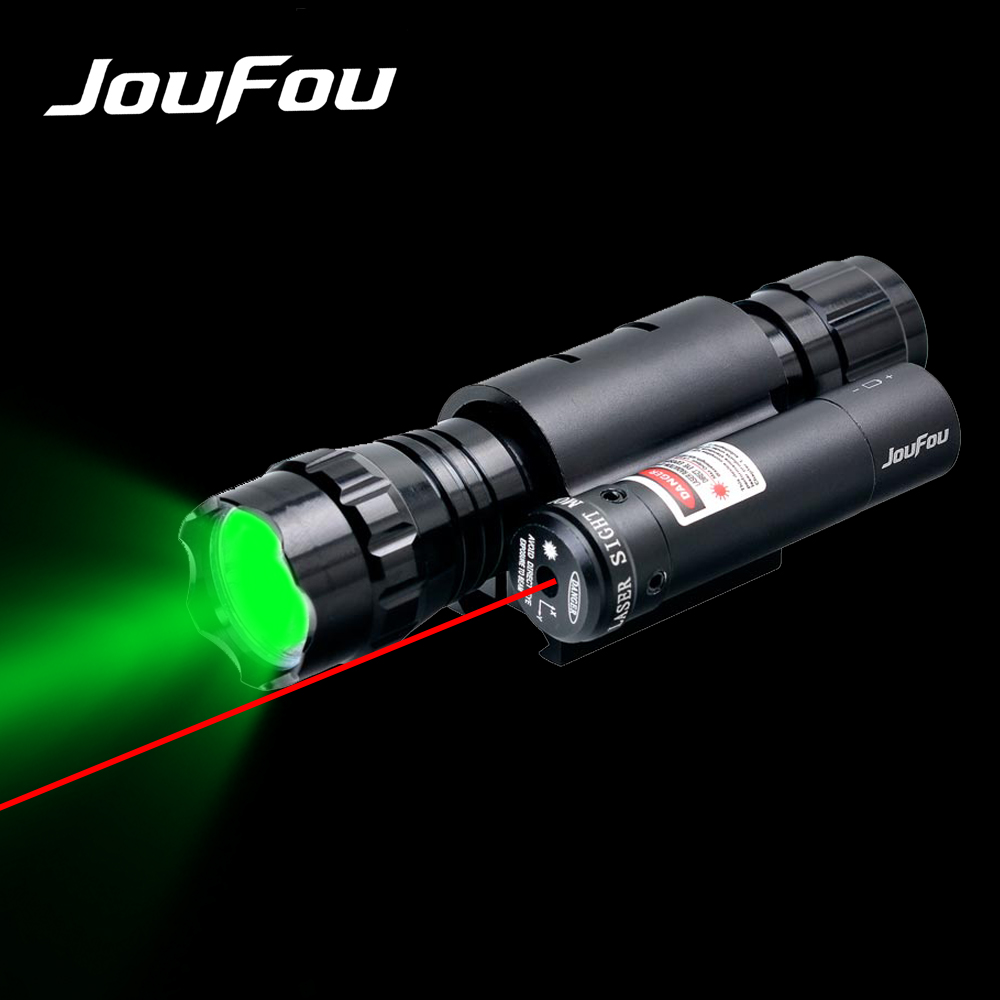 JouFou Tactical Hunting Light Ultra Bright Strong Blue or Green Flashlight with Red Laser Sight 20mm Rail Mount Torch Kit hunting compact tactical green laser sight flashlight combo low profile pistol handgun light with 20mm picatinny rail