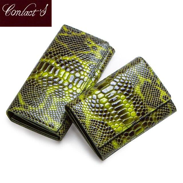 Monedero con diseño de serpiente a la moda para mujer, billetera larga de cuero genuino para mujer, monederos para teléfono para niña, tarjetero, bolso de mano tipo monedero