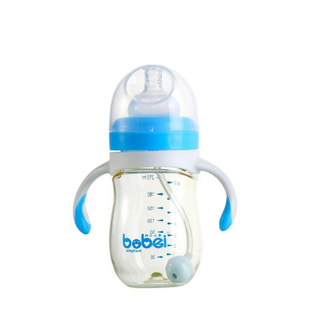 El nuevo bebé botellas de plástico PA alimenta niños aprender beber paja tallo tallos niños abandonan la resistencia 210 ml botella de jugo