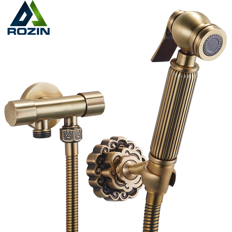 best quality bathroom bidet faucet dual handle single hole toilet flushing sprayer head taps antique brass