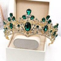 Noble Vintage Green Crystal Tiaras Pageant Prom Crowns Rhinestone Bridal Queen Tiara Bride Headband Golden Crown Hairband CR093
