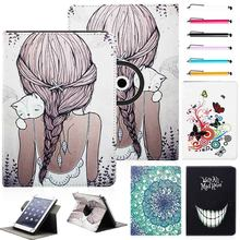 "Universal 9.7"" 10"" 10.1'' 360 degrees rotate PU Leather Print Stand Protector Cover Case Skin For 10 Inch tablet PC +Free stylus(China)"
