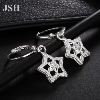 wholesale , For Lady women silver color earrings charms Hoop wedding hook CUTE Bohemia fashion classic jewelry JSHLE044 3