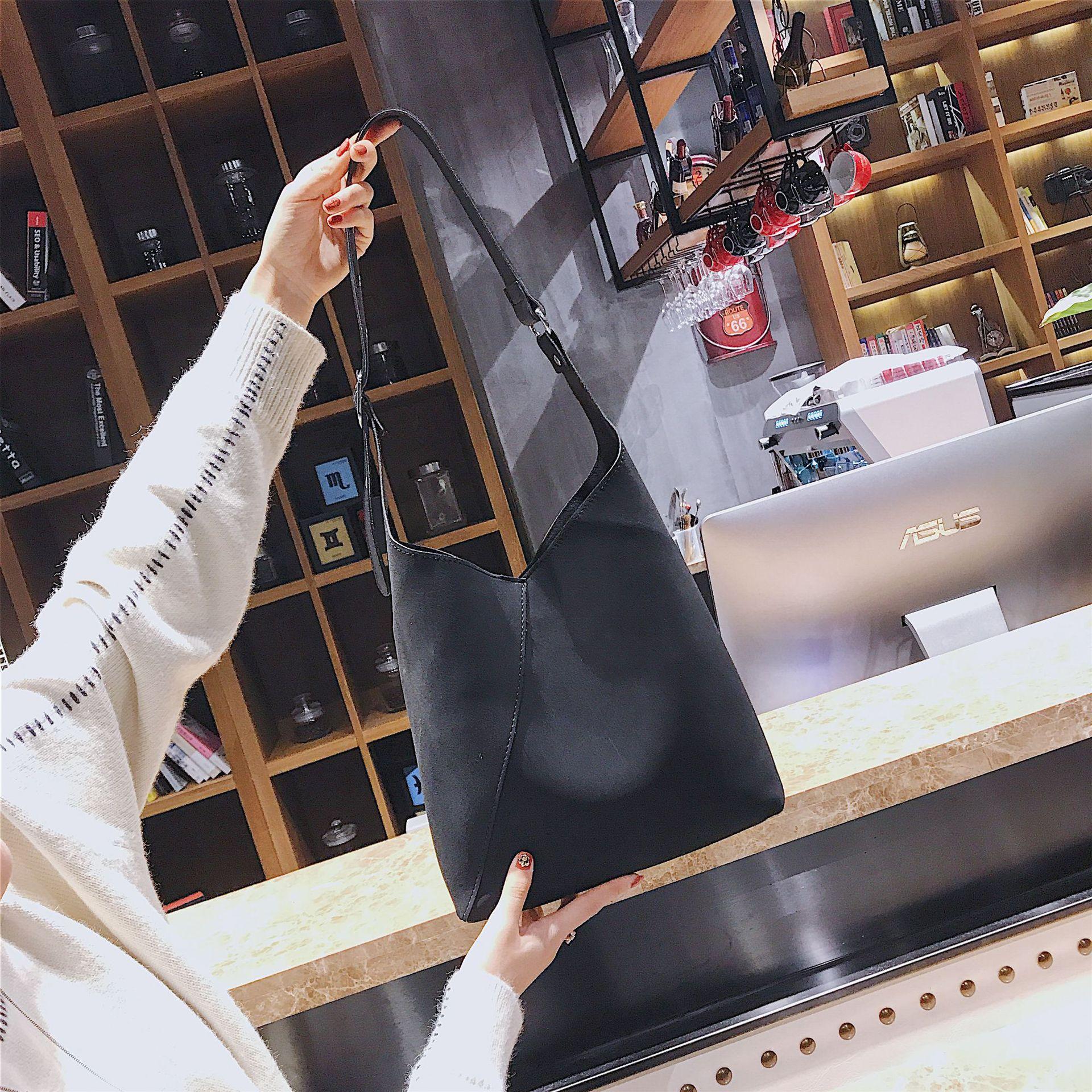 Modo 2019 Tracolla A Femmina Nuova Donna Solido Sacchetti Spalla Colore il Dell'annata Casual Secchio Di Hasp Borse Khaki Da Nero Arrivo rfwSqr