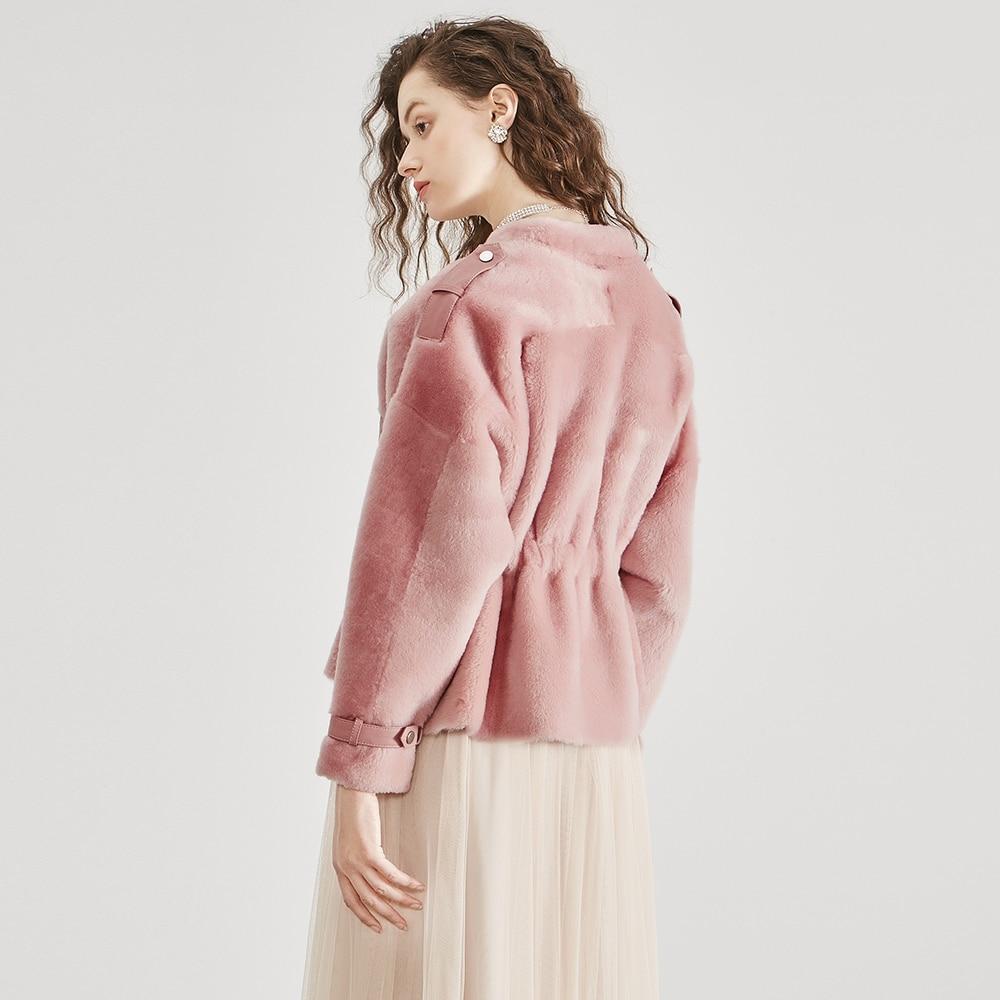 Color Femmes Veste Photo Vêtements Mouton D'hiver Cuir Vintage Naturel Peau Fourrure Color Manteau rose Réel De Véritable Lâche Mince Taille 2019 photo En Doublure BBFr5qxw