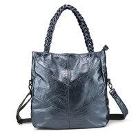 100% leather Italian leather bag luxury designer handbag large capacity Patchwork Shoulder Bag Really leather woven bags sac