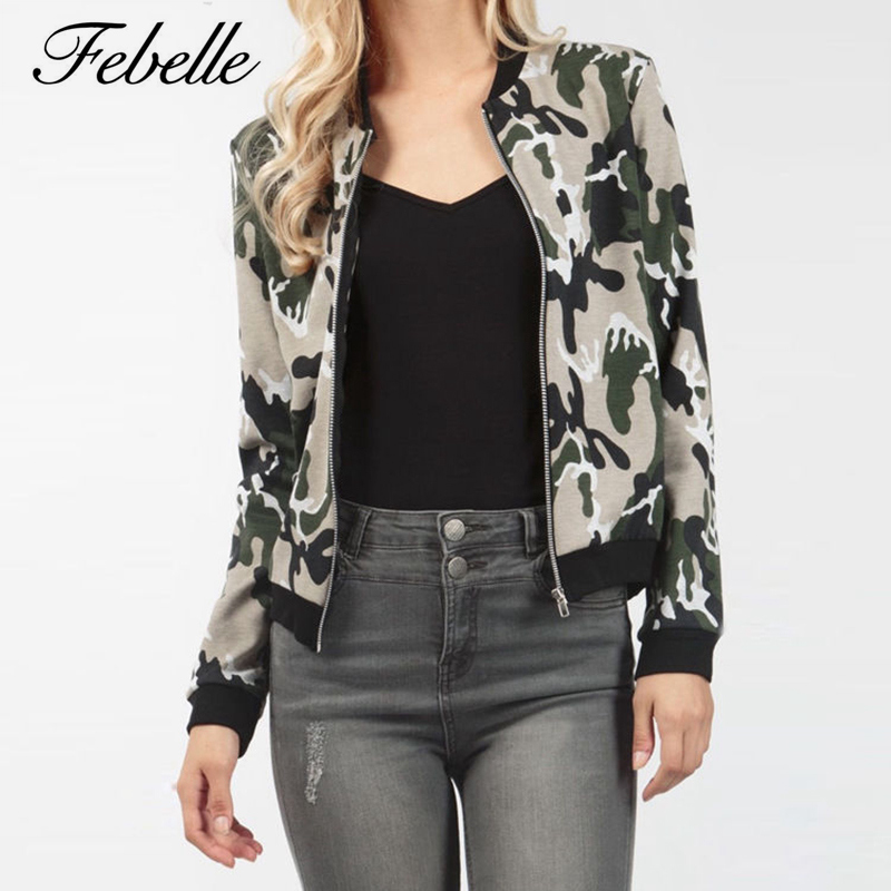 Febelle Autumn Women Cool   Basic     Jacket   Tops Ladies Long Sleeve Printed Zipper   Jacket   Camouflage Coat Outwear #91205