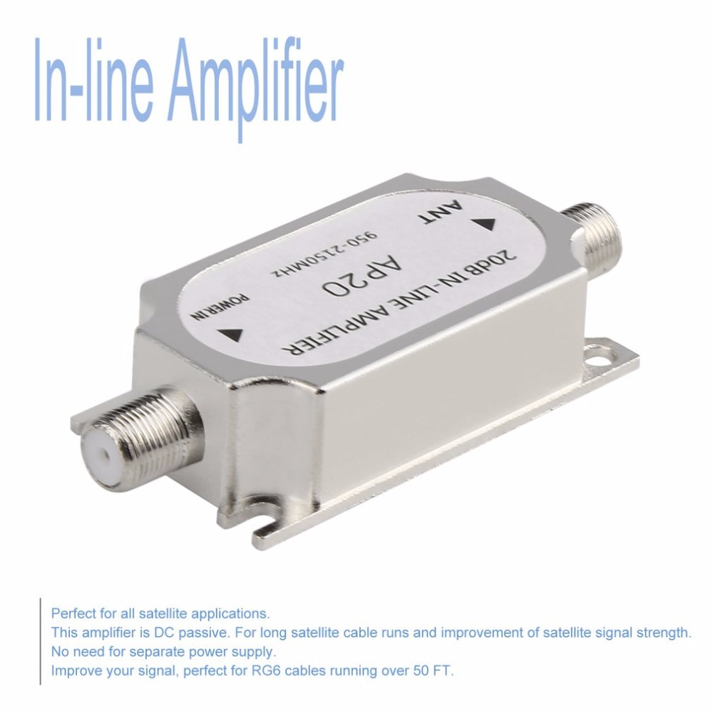 New Satellite 20dB In-line Amplifier Booster 950-2150MHZ Signal Booster For Dish Network Antenna Cable Run Channel Strength