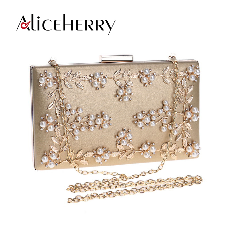2019 Handmade Flowers Evening Bag Luxury Wedding Bridal Clutches Box Bag Women Pearl Party Handbag Pu Leather Purses Wallet Gold