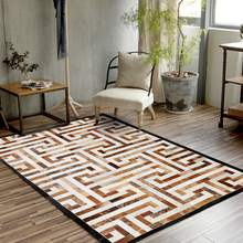 FAMIFUN New European Geometry Pure Cowhide Carpet Living Room Bedroom Study Tea Table Rugs 200*300cm Handmade Splice Carpets
