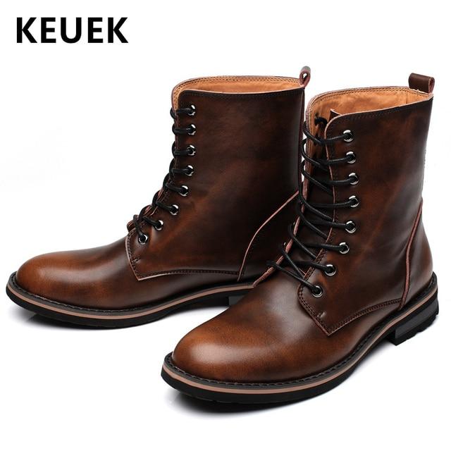 Yeni Varış Erkekler çizmeler Sonbahar Kış Açık Motosiklet botları Erkek Takım ayakkabı Hakiki deri Askeri bot 061