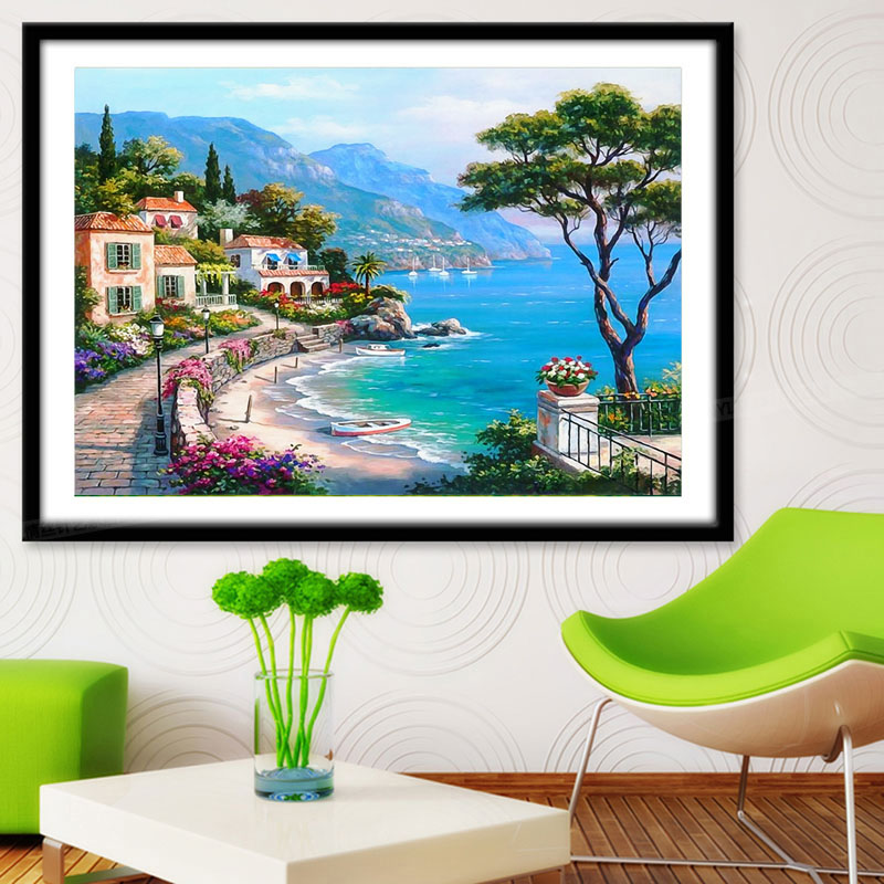 5D Scenery Sea Diamond Embroidery Party Home Decor Picture By Numbers Diamond Mosaic Painting Cross Stitch TB Sale