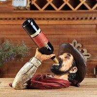 Cowboy Drinking Wine Rack Wine Holder Shelf Resin Sculpture Practical Sculpture Wine Stand Home Decoration Interior Crafts Beer