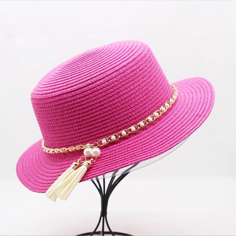 Sonnenhüte Neue Frühling Sommer Hüte Für Frauen Kette Perle Krempe Jazz Panama Hut Chapeu Feminino Sonnenblende Strand Hut Cappello KöStlich Im Geschmack