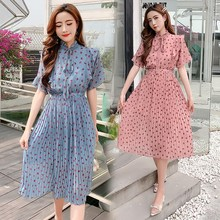 Summer Women Long Dress Chiffon Bow Collar Polka Dot Sweet Elegant Pleated Party