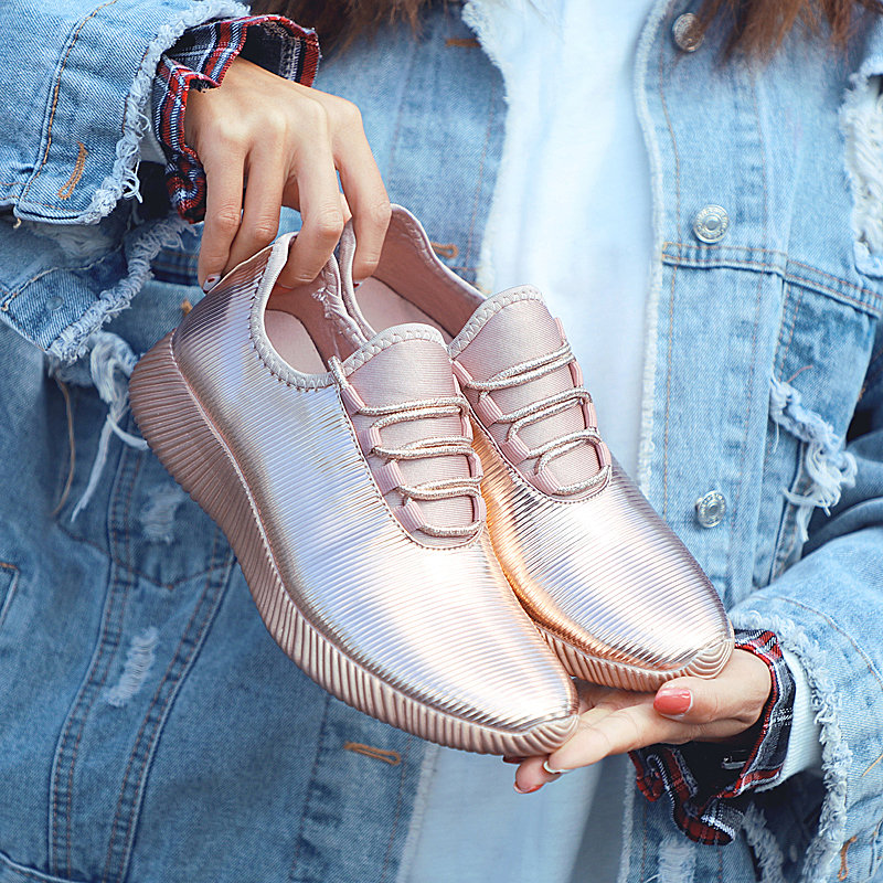 Fashion Women Platform Sneakers Shoes Gold Breathable Casual Walking Female Sports Brand Ladies Vulcanized Flat Zapatillas Mujer
