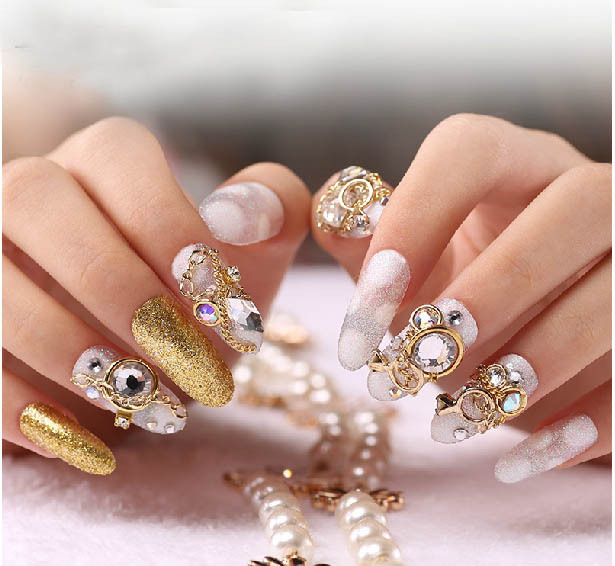 New Design Long Full Cover False Nails 3d Flower Bling Bling Fake
