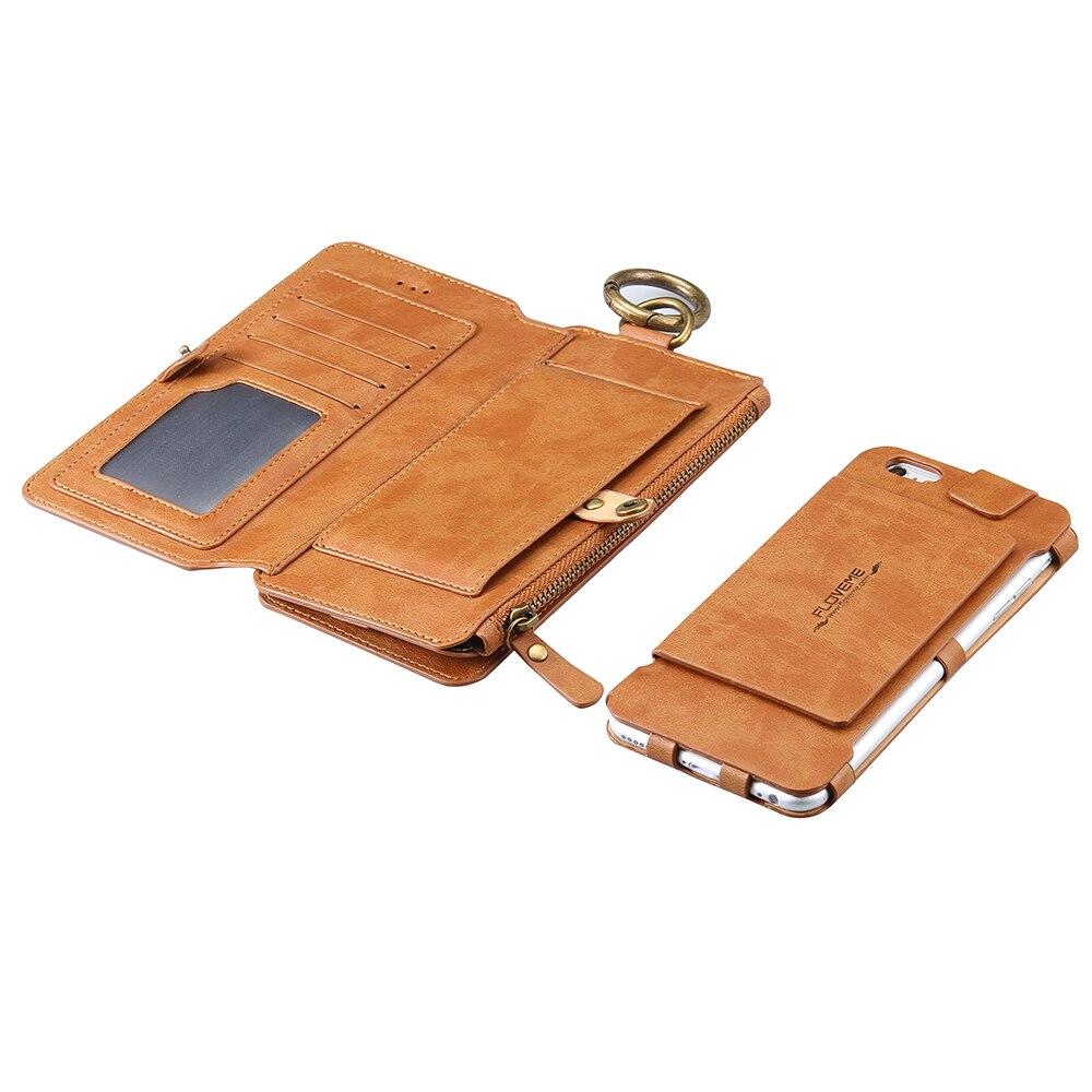 imágenes para Floveme case antiguo negocio billetera de cuero multifunción 2 en 1 teléfono bolsa con ranura para tarjeta para iphone 6s 6 iphone 7 plus