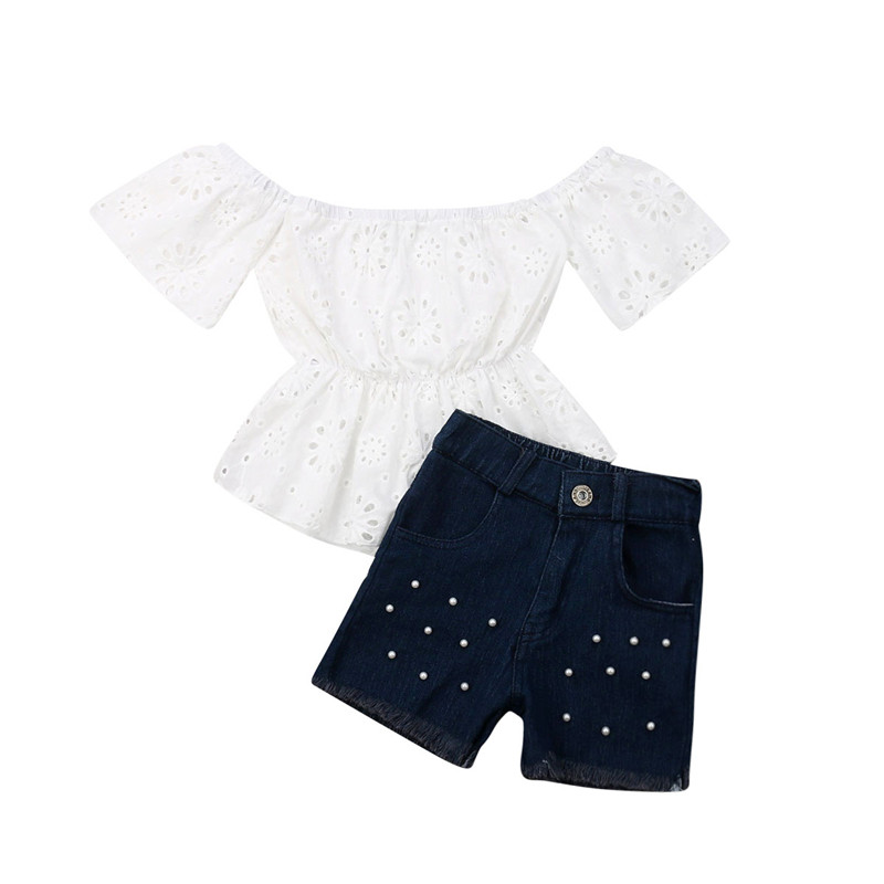 2PCS Toddler Kids Baby Girls Summer Clothes Off Shoulder Lace Hollow Out T-shirt Tops Pants Patchwork Shorts Denim Jeans Outfits 1