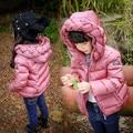 Зима Ткачество шапки куртка мода девушки парни вниз с капюшоном пальто детская куртка теплая верхняя одежда детей повседневная одежда 16N1103