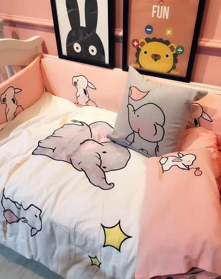 4Pcs Baby Bed Set Bumper Cotton Soft  Baby Bumper Bed Around Cartoon Pattern Cot Bumper Girls Like Pink Baby Bed Bumper Bedding 4pcs set cartoon animal baby cloth book knowledge around multi touch multifunction fun and double color colorful bed bumper