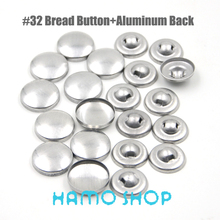 100Sets/lot #32 Aluminum Round Fabric Covered Cloth Button Cover Metal Bread Shape For Handmade DIY Free Shipping
