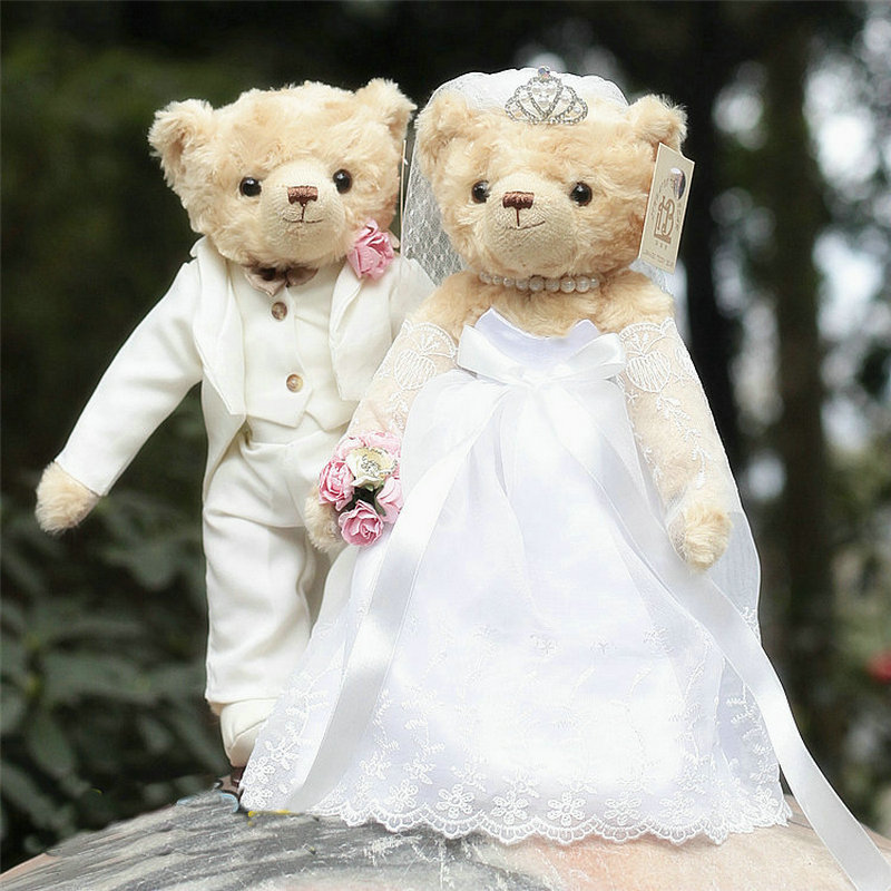 36cm A Couple Wedding Dresses Teddy Bear Plush Teddy Bear Lover Dolls Jointed Bear Wedding Gift Give Support Stuffed Animal Toys fancytrader biggest in the world pluch bear toys real jumbo 134 340cm huge giant plush stuffed bear 2 sizes ft90451