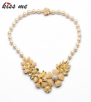 Fashion Simulated Pearl Collar Necklace KISS ME Newest Women's Dress Jewelry Elegant Bead Chain Flowers Necklaces Pendants