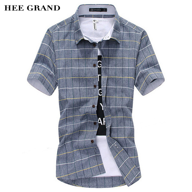 Мужская рубашка короткий рукав Новое поступление 2017 года мода Slim Сетка Стиль M-5XL Размеры повседневные рубашки в клетку MCS339