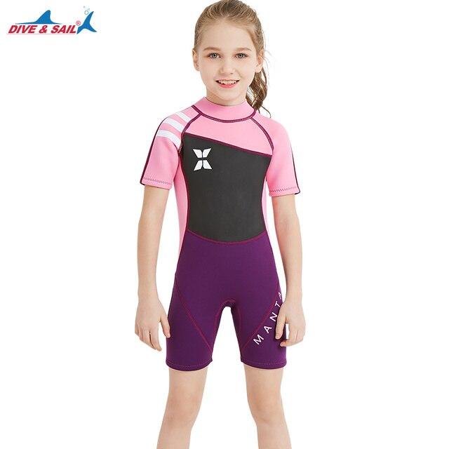 0ccf6d6bd582f 2018 Spring Neoprene Wetsuits for Kids Boys Girls Back Zipper One Piece  Shorty Swimwear UV Protection