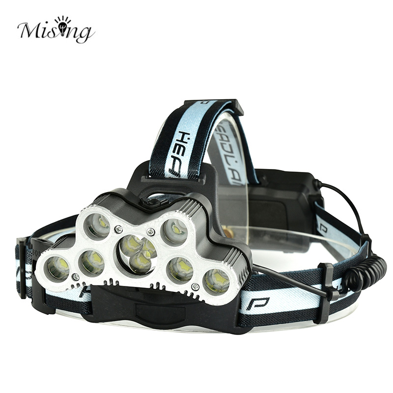 MISING Professional 2000 Lumens T6 9 Led Headlamp Headlight 6 Modes Head Flashlight Torch Led USB Rechargeable For 18650 Battery