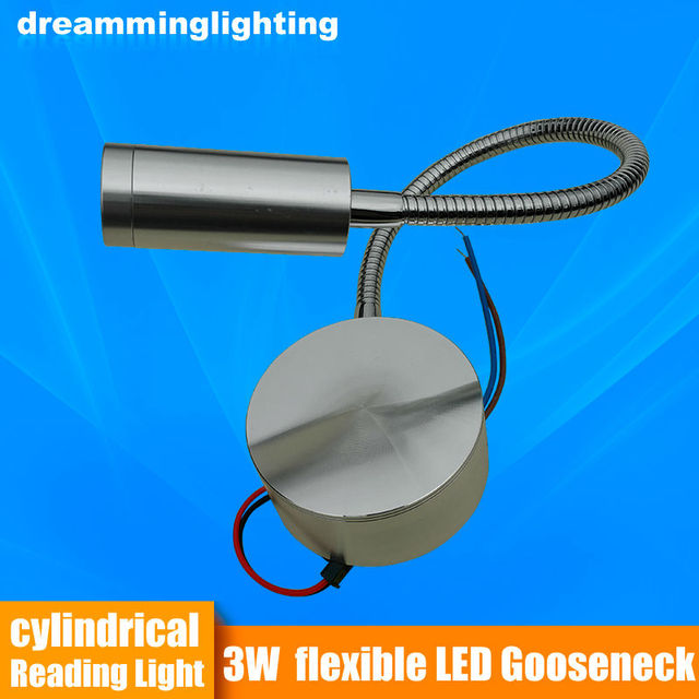 LED Reading Light Flexible Trailer RV Boat Bed Wall Table bed light desk light Wall light/Silver/Black 3w 220v/12v