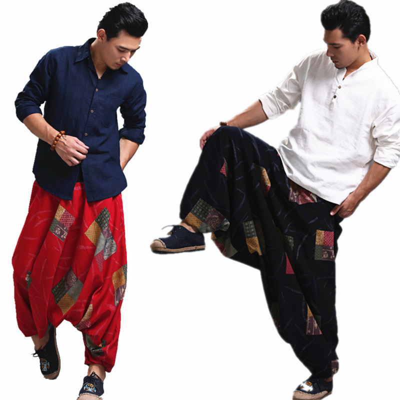 Men Ethnic Pants Spring Autumn High Quality Indian Nepalese Style Costumes Yoga Casual Broad-legged Printed Linen Elastic Pants
