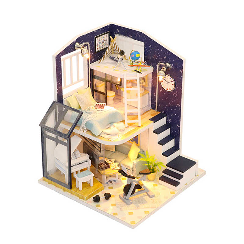 Doll House Loft Miniature Assemble Toys 3D Handmede Wooden Mini Dollhouse Toy with Furniture LED Lights for Kids Birthday Gift