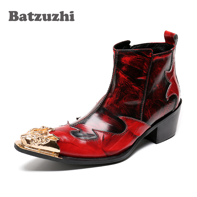 Batzuzhi Italian Type Men Boots Wine Red Genuine Leather Men Short Boots Golden Metal Toe Nightclub Stage Shoes 6cm High Heels stylish water ripple pattern 6cm width wine red tie for men