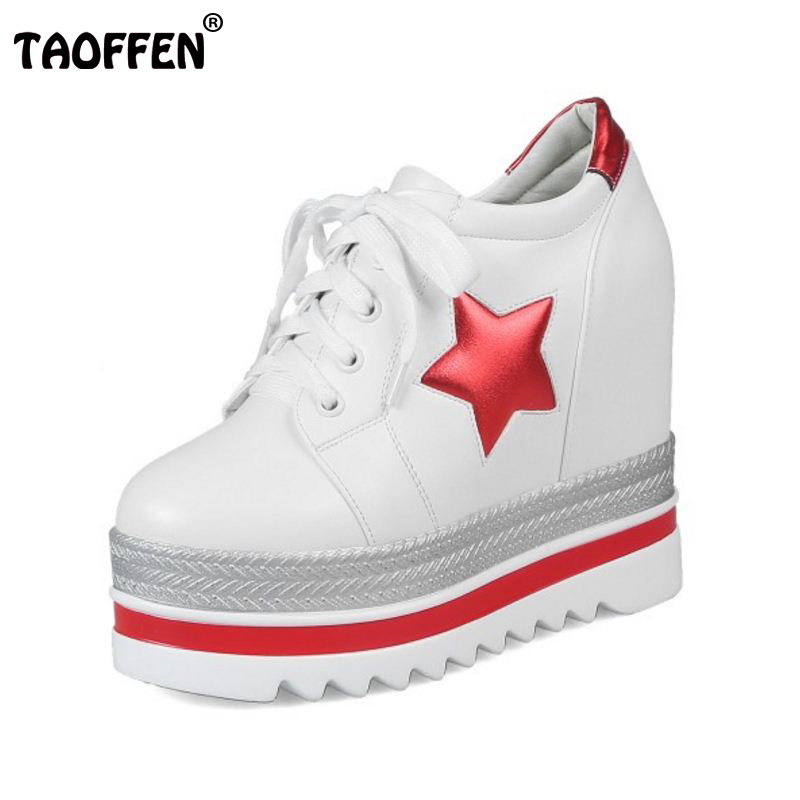 TAOFFEN Size 34-39 High Heels Women Shoes Platform Wedges Shoes Pumps Lace Up Stars Casual Shoes Cut Out Square Toe Fashion Pump big size high heels round toe women platform shoes cool casual white lace wedge black creepers medium pumps mesh chinese fashion