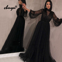 Muslim Evening Dresses Long Sleeves Lantern A Line Tulle Beads Illusion Islamic Dubai Saudi Arabic Evening Gown Prom Dress