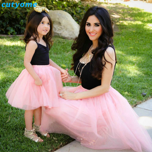 ef261f6d4438 Matching Mom And Daughter Family Clothes Dresses Sleeveless Pink Mesh  Patckwork Tutu Dress For Princess Mommy And Me Outfits