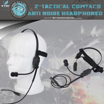 Z-Tac Z136 Military Tactical Headset Signal bone conduction Speaker mh180-v Airsoft Earphone Midland Ptt