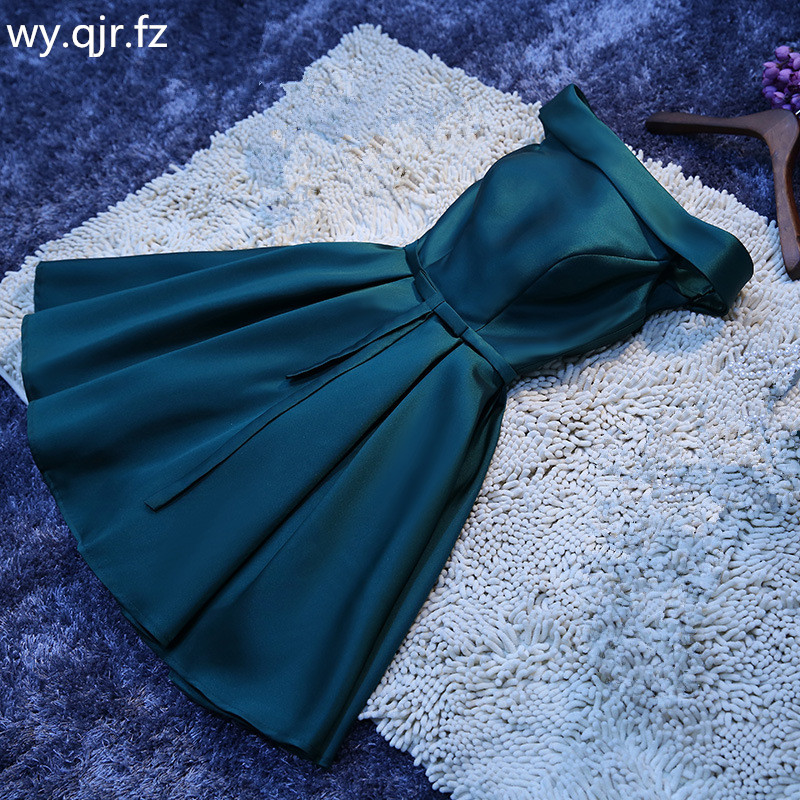 LBHS2143M#Lace Up Boat Neck Dark Green Short Bridesmaid Dresses Wedding Party Prom Dress Girls 2019 New Wholesale Customize