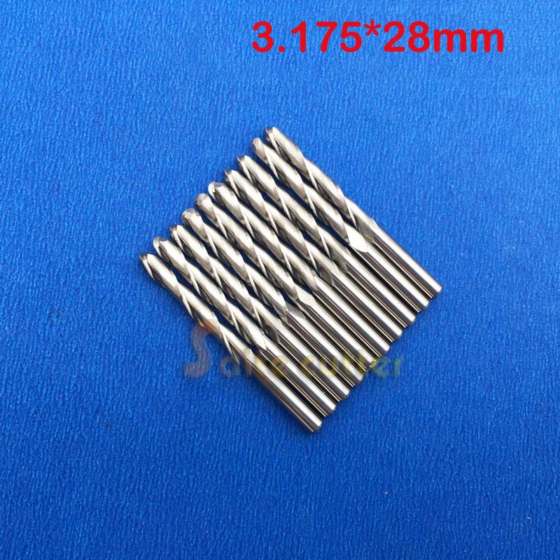10 pcs/lot 3.175x28mm 2 Flutes Ball Nosed End Mill, CNC Router Bits, Milling Cutters, Solid Carbide, Cutting Tools 4pcs 2 fultes ball nose end mills 12 25mm mill cutters carbide cutting tools cnc router bits