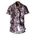 Plus Size Fashion 2016 Men Casual Turn Down Collar Tops Dress Shirts Men Floral Printed Casual Short Sleeve Shirt Homme